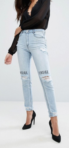 ASOS (MISSGUIDED) RIOT HIGH RISE GRAFITTI BUSTED KNEE JEANS £32.00