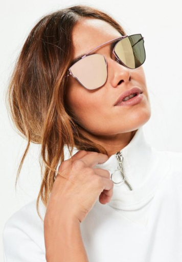 MISSGUIDED PURPLE MIRROR LENSES T-BAR SUNGLASSES £12