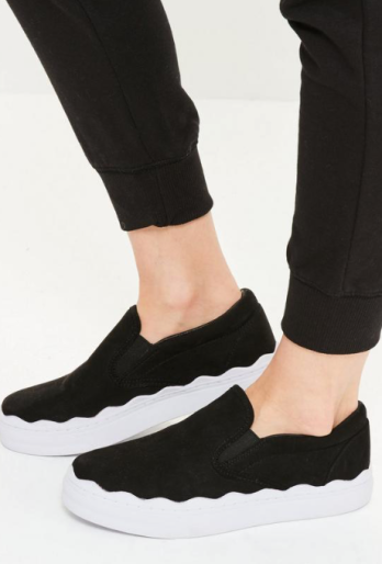 MISSGUIDED BLACK WAVE SOLE FLATFORM SLIP ON TRAINERS £28