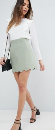 ASOS A-LINE MINI SKIRT WITH SCALLOP HEM £20
